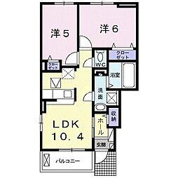 サン ベル III 1階2LDKの間取り