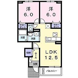 サニーハウス篠隈C 1階2LDKの間取り