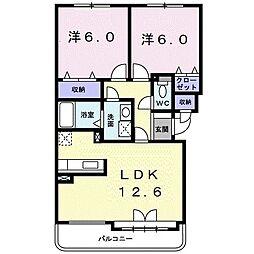 札幌市営東豊線 月寒中央駅 徒歩9分の賃貸マンション 3階2LDKの間取り