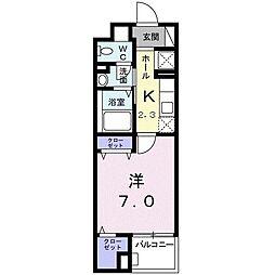 グレイスコモンズ東静岡 5階1Kの間取り