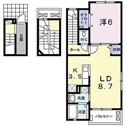 サン・ルーチェI 3階1LDKの間取り