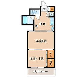 ロイヤルコート安田 3階2DKの間取り