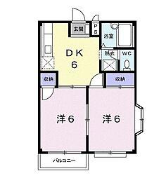 エルディム・福島A 2階2DKの間取り