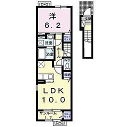 セレノ三和I 2階1LDKの間取り