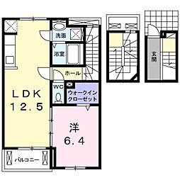 フラン ソレイユ 3階1LDKの間取り