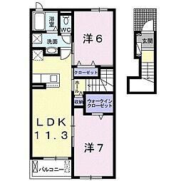 ウメミツハウス1 2階2LDKの間取り