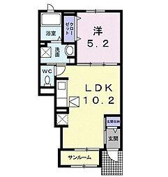 ウメミツハウス2 1階1LDKの間取り