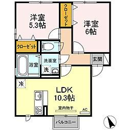 Dーroom登米 B 2階2LDKの間取り