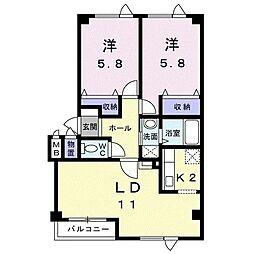 札幌市営南北線 真駒内駅 バス10分 川沿1条1丁目下車 徒歩5分の賃貸アパート 2階2LDKの間取り
