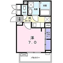 NISHIKAWA 2階1Kの間取り