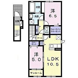 蟹沢アパートA 2階2LDKの間取り