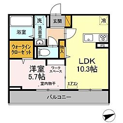 仮)D-room松戸新田 A 3階1LDKの間取り