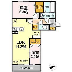 仮)D-room松戸新田 A 3階2LDKの間取り