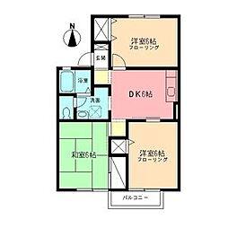 JR東海道本線 鴨宮駅 バス7分 下堀入口下車 徒歩7分の賃貸アパート 2階3DKの間取り
