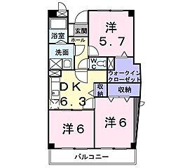 ヴァンテアン 3階3DKの間取り
