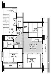 ビレッジハウス芦谷1号棟 3階3DKの間取り