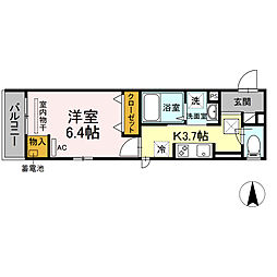 湘南新宿ライン宇須 新川崎駅 徒歩16分の賃貸アパート 1階1Kの間取り