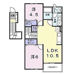 コルティーレ 2階2LDKの間取り