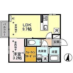アドバンス 2階1LDKの間取り