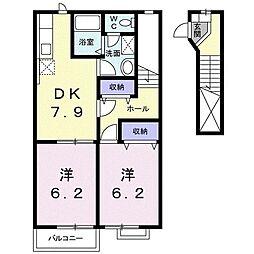 グランヒル西の平 2階2DKの間取り