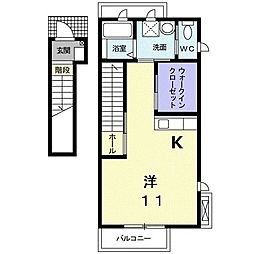 Rest HouseII 2階1Kの間取り