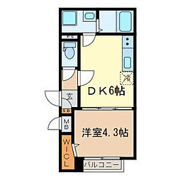 JR京浜東北・根岸線 西川口駅 徒歩8分の賃貸マンション 1階1DKの間取り