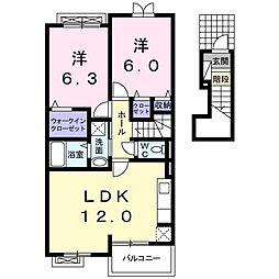 ラフレシール武蔵大和 2階2LDKの間取り