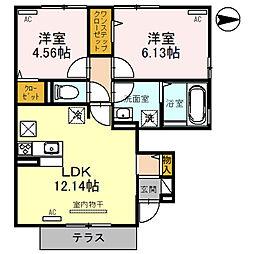 (仮)D-room指柳町 1階2LDKの間取り