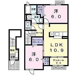 プリヴィエート 2階2LDKの間取り