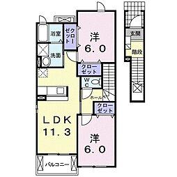 サンリットハウス 2階2LDKの間取り