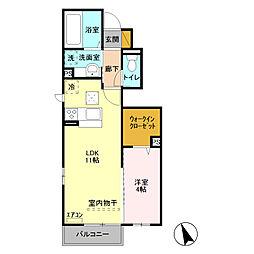 JR川越線 日進駅 徒歩15分の賃貸アパート 1階1LDKの間取り