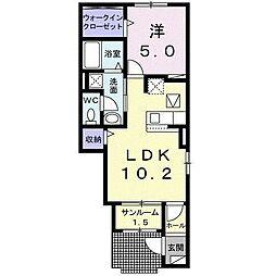 ルーエンハイムIII 1階1LDKの間取り
