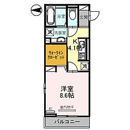 (仮)D-room琴平一丁目 2階1Kの間取り