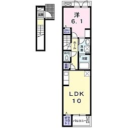 本三里塚アパート(025477101) 2階1LDKの間取り