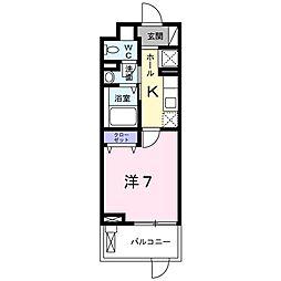 メゾンド タカハマ 2階1Kの間取り