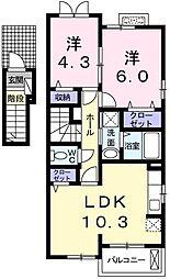 ラフレシール 2階2LDKの間取り