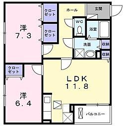 ピュアメゾン辻子 1階2LDKの間取り