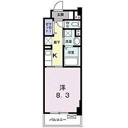 ミルト熊野 1階1Kの間取り
