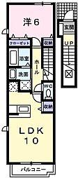 ベルラストーレ 2階1LDKの間取り