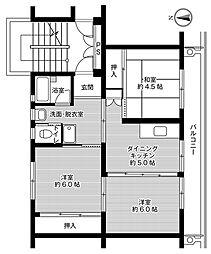 ビレッジハウス成田2号棟 3階3DKの間取り