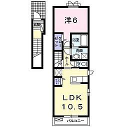 ノースフィオーレ鶴見緑地 2階1LDKの間取り