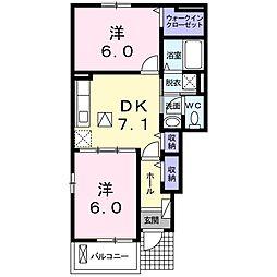 カーサ下五井 1階2DKの間取り