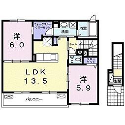 阪急宝塚本線 曽根駅 徒歩15分の賃貸アパート 2階2LDKの間取り