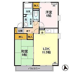 埼玉新都市交通 今羽駅 徒歩2分の賃貸アパート 2階2LDKの間取り
