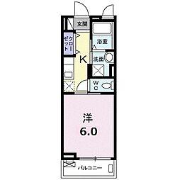 ヴィーナス 3階1Kの間取り