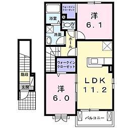 エール ド ランジュA 2階2LDKの間取り