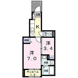 ノーブル笹崎 1階1Kの間取り