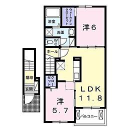 サルヴァトーレ エイト 2階2LDKの間取り