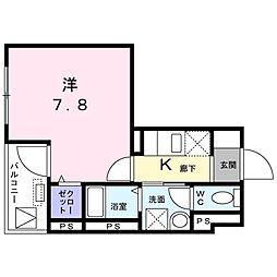 よしビル 3階1Kの間取り