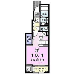 Le ciel MinamiB 1階1Kの間取り